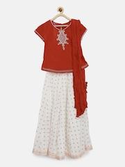 Biba Girls Red & Off-White Lehenga Choli with Dupatta