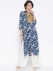 Shree Women Navy & Off-White Printed Straight Kurta