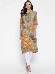 Shree Women Taupe & Mustard Yellow Printed Straight Kurta
