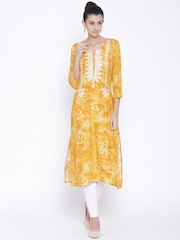 Shree Women Mustard Yellow Printed Straight Kurta