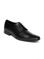 Arrow Men Black Genuine Leather Derby Shoes