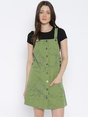 Vero Moda Women Olive Green Printed A-Line Dress