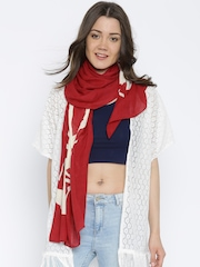 Vero Moda Red & White Printed Scarf