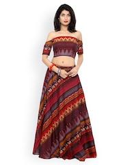 Inddus Maroon & Brown Ikat-Woven Banarasi Cotton Semi-Stitched Lehenga Choli