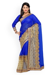 Satrani Blue & Beige Embroidered Raschel Net Embellished Saree