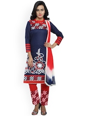 Satrani Navy & Red Embroidered Cotton Unstitched Dress Material