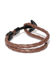 The Bro Code Unisex Brown Anchor-Shaped Braided Bracelet