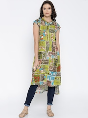 Global Desi Women Green Printed A-Line Kurta