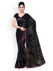 Blissta Black Jacquard & Silk Printed Saree