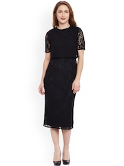 Femella Women Black Lace Sheath Dress