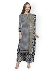 Florence Blue & Beige Printed Unstitched Dress Material