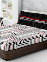 Tomatillo White & Black Printed 144 TC Pure Cotton Double Bedsheet with 2 Pillow Covers