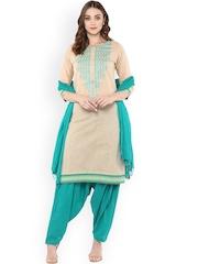Jaipur Kurti Cream-Coloured & Sea Green Embrodiered Patiala Kurta Set with Dupatta
