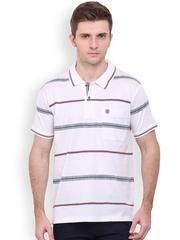 Duke Men White & Navy Striped Polo T-shirt