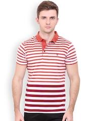 Duke Men Rust Orange & Off-White Striped Polo T-shirt