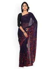 Vaamsi Purple Chiffon Printed Saree
