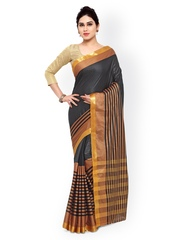 Rajesh Silk Mills Black & Gold-Toned Handloom Kanjeevaram Cotton & Silk Traditional Saree