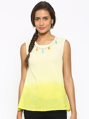 c0f5e48bf0edc Fusion Beats Yellow Ombre Dyed Top Fusion Beats Tops available at Myntra  for Rs.439
