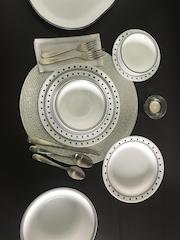 Corelle White & Black 21-Piece Printed Dinner Set