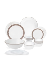Corelle White & Brown Set of 30 Printed Glass Dinner Set