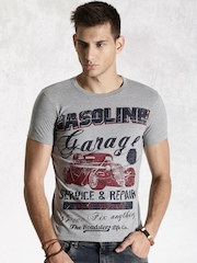 Roadster Men Grey Melange Gasoline Printed Slim Fit T-shirt