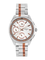 CASIO Enticer Women Silver-Toned Chronograph Watch A857 LTP-2086RG-7AVDF