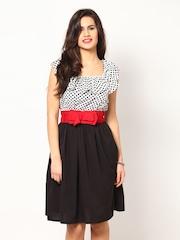 Eavan Black & White Printed Fit & Flare Dress