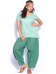 Mirage Jade Green Embroidered Kurti with Pants