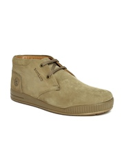 Woodland Men Khaki Solid Mid-Top Sneakers