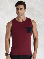 Roadster Men Maroon Slim Fit T-shirt