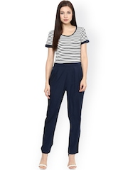 Magnetic Designs Women Navy & White Striped Jumpsuit