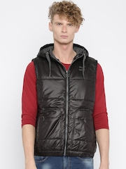 PUMA Men Black Sleeveless Hooded Quilted Gilet Jacket