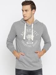 Puma Men Grey Melange Printed Hooded sweatshirt