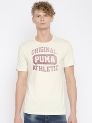 PUMA Men Off-white Printed Varsity T-Shirt