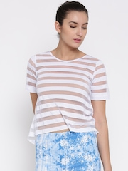 AND by Anita Dongre Women White Sheer Top