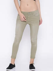 Jealous 21 Women Light Green Hottie Ultra Slim Fit Ankle Length Jeans