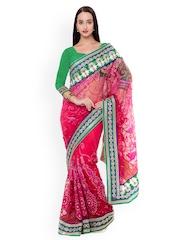 Triveni Red Embroidered Net Embellished Saree