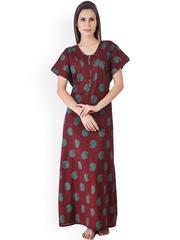 Masha Brown Printed Maxi Nightdress NT4-10