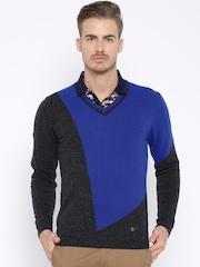 Arrow New York Charcoal Grey & Blue Woollen Sweater