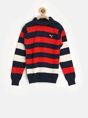 PUMA Boys Navy & Red Striped Sweater
