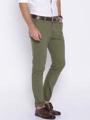 HARVARD Green Slim Fit Trousers