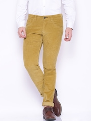 HARVARD Mustard Yellow Slim Fit Corduroy Trousers
