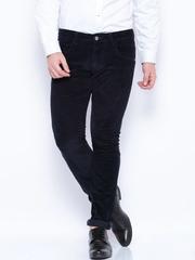 HARVARD Navy Slim Fit Corduroy Trousers