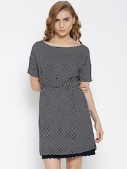 United Colors of Benetton Navy Polka Dot Print A-Line Dress