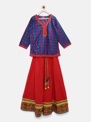 Biba Girls Navy & Red Ethnic Print Lehenga Choli