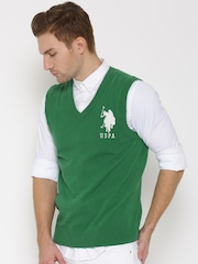 U.S. Polo Assn. Men Green Lambswool Sleeveless Sweater