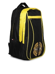 Tommy Hilfiger Men Black & Yellow Bikers Collection Backpack