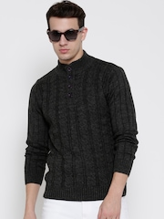 Flying Machine Men Charcoal Grey Cable Knit Sweater