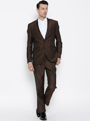 Blackberrys Men Brown Linen Blend Single-Breasted Semiformal Suit