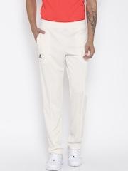 Adidas Men Off-White Cricket Basic Track Pants